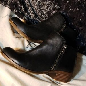 Basel 7.5 NEW LuckyBrand Flat Bootie Leather Black